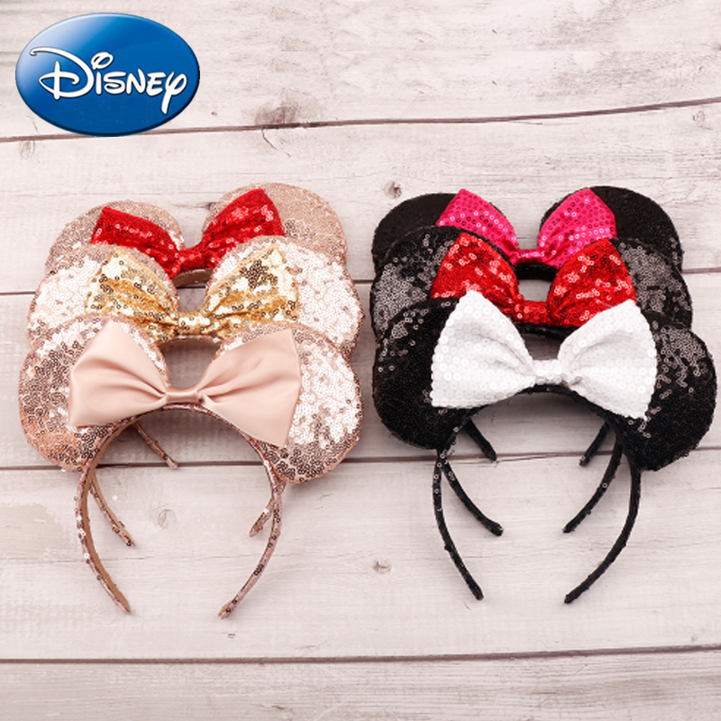 Disney 2019 Minnie Mouse Headdress Pretend Play Game Mickey Head Ears Sequin Girls Hair Bands Princess Head Hoop Toys Kid Gift