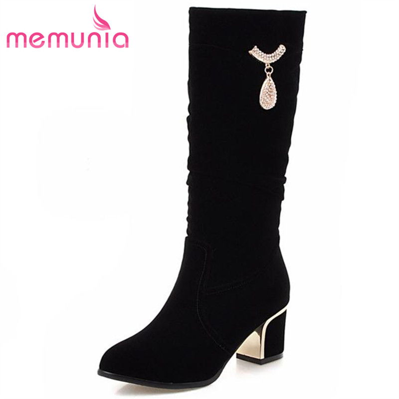 MEMUNIA Plus size 34-43 nubuck leather women winter boots pu round toe square med heel fashion charm slip on mid calf boots popular winter high quality full grain leather round toe mid calf boots size 40 41 42 43 44 chains design square heel boots