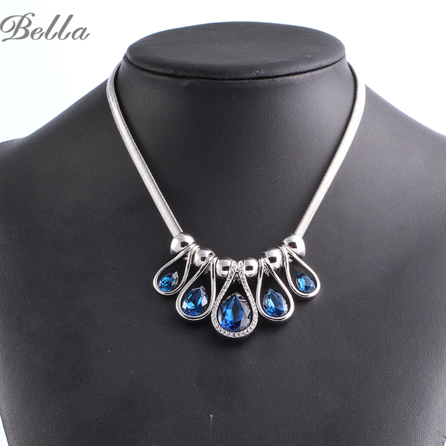 Fine Crystal Women  Colar Jewelry Necklaces&Pendants Luxury Collares Choker Statement Necklace for Party Dress(X0234)