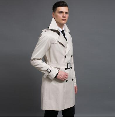 2019 new designer slim double breasted trench coat men overcoat medium-long mens clothing business outerwear casaco masculino
