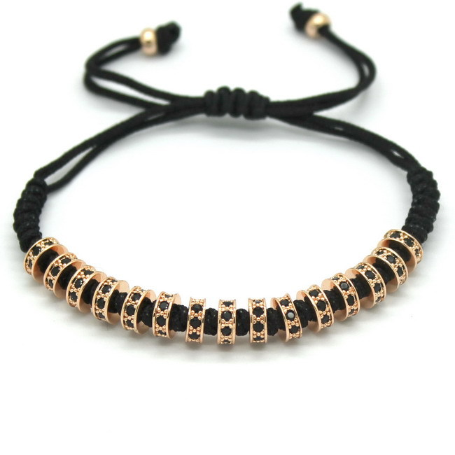 New Fashion Brand Macrame Bracelets, Rose Gold Micro Pave Black CZ Stoppers Beads Strand Macrame Bracelet For Men Jewelry 6