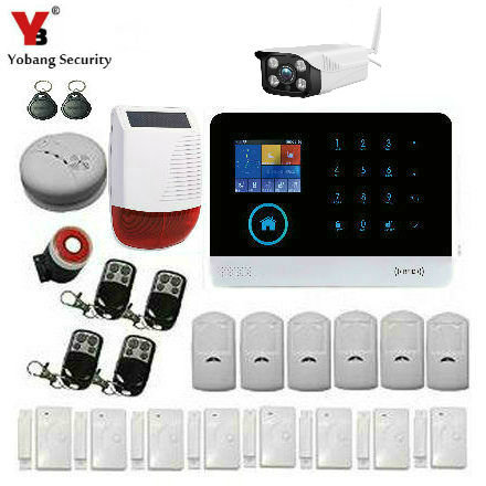 YobangSecurity Wifi GSM GPRS Home Burglar Alarm Security System Intruder Alarm System With Solar Power Siren Outdoor IP Camera цена