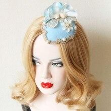 2016 New Arrival Gothic Woman Hairwear Mini Deluxe Sky Blue Hatclip Lace Flower Head Decoration Wedding Party Bridal Floral Hat