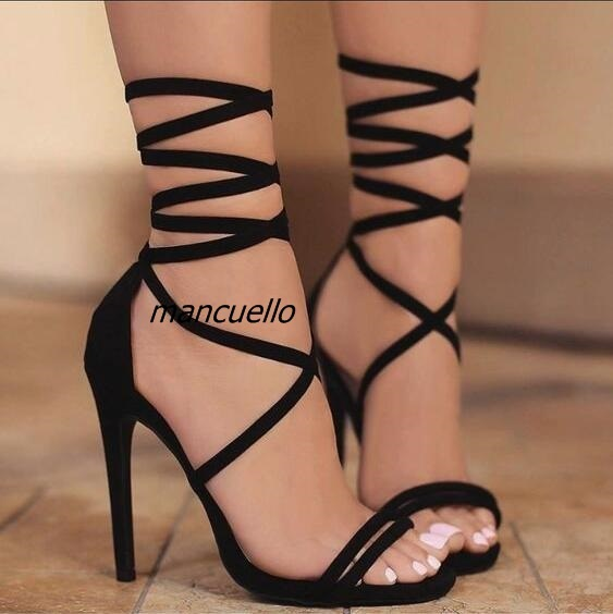bab957ea3 Sexy Black Silk Cut-out Thin Heel Lace Up Sandals Women Elegant Open toe  Strappy Stiletto Heel Dress Sandals Fashion Shoes Hot