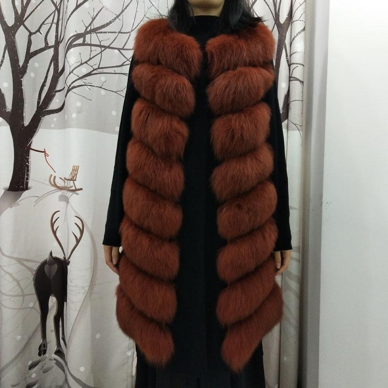 Gilet Renard Long 2 Manches Véritable De 7 4 Naturel 2018 3 D'hiver Veste Taille Sans Fourrure Mode 6 Réel 1 Femmes La 5 Plus Manteau DYeE92IWH