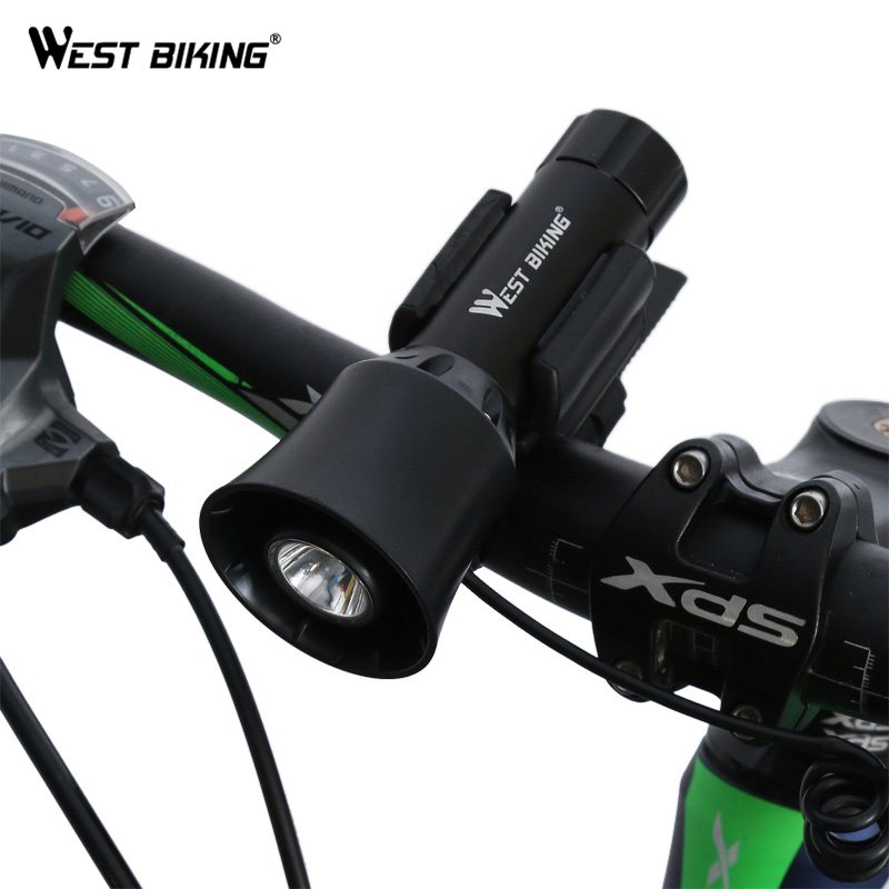 WEST BIKING Bike Bell + Bicycle Front Bike Light 4 Tones 5 Lighting Modes Rechargeable With Battery lamp Bike <font><b>Horn</b></font> Cycling Light
