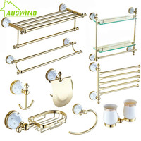 Brass Gold Bathroom Hardware Sets Wall Mounted Ceramic Crystal Base Bathroom Products Diamond Stars Bathroom Accessories Sets