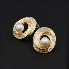 Hot Sale Simulated Pearl Beads Stud Earrings Simple Design Elegant Jewelry Women Trendy Statement