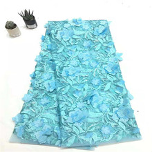 High Quality Embroidered Nigerian Tulle Lace Fabric Latest For Wedding African 3D Flower  HX1255-1