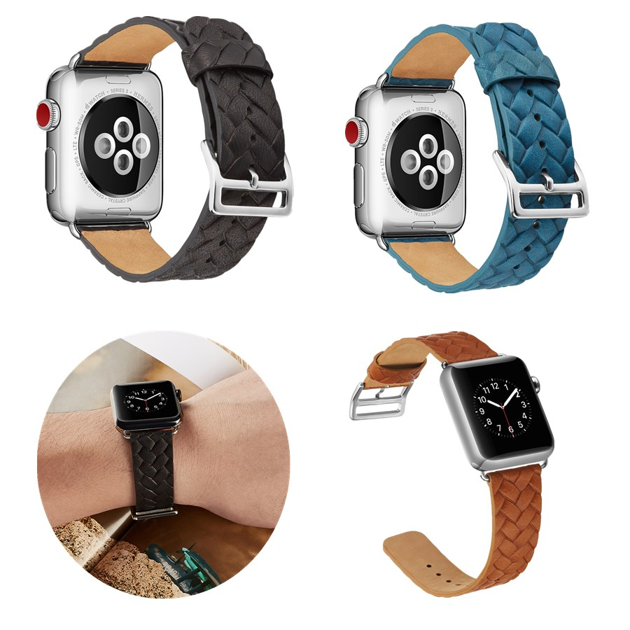 Leather Watchbands for Apple Watch Series 5 4 3 2 1 Knit lines Buckle Strap for iWatch 38 40 42 44 MM Band Bracelet Accessories