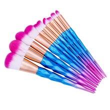 MLing 10 pcs diamond rose gold makeup brushs sets Foundation eye shadow  concealer brush beauty tools