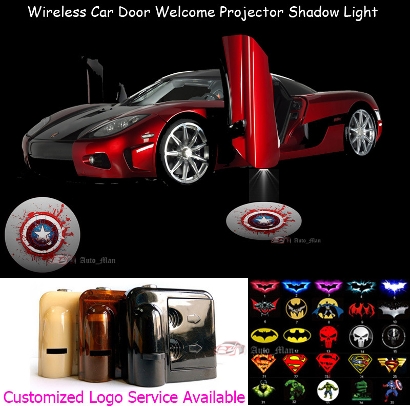 2x Marvel Captain America Logo Wireless Sensor No Need Drilling Car LED Welcome Laser Pr ...