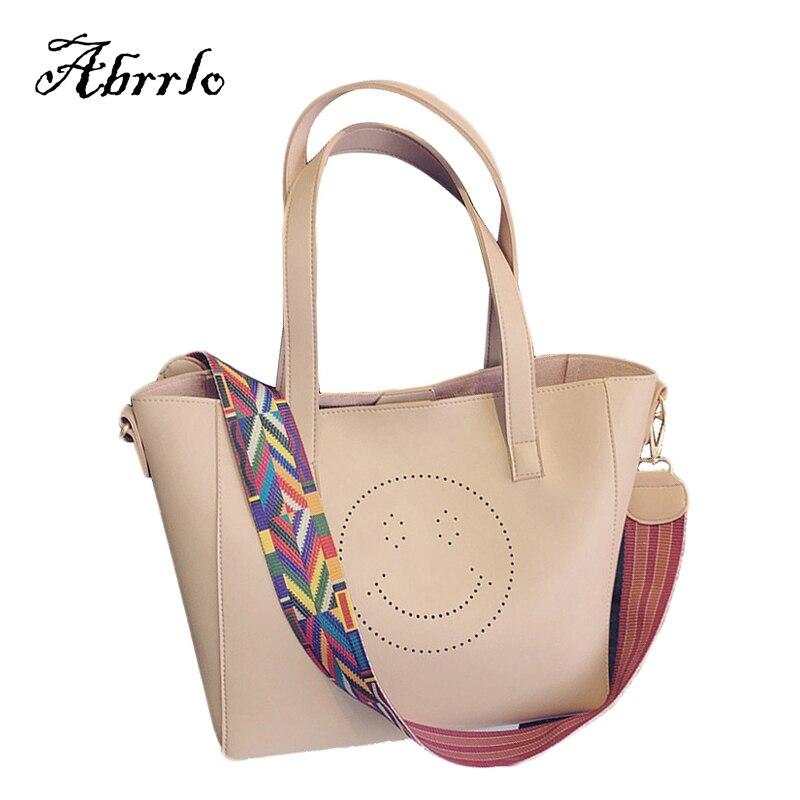 ФОТО Luxury Handbags Women Bags Designer Hollow Tote Bag Leather Handbags Simple Big Composite Smiley Women-bag 2017 WAITMOON Brand