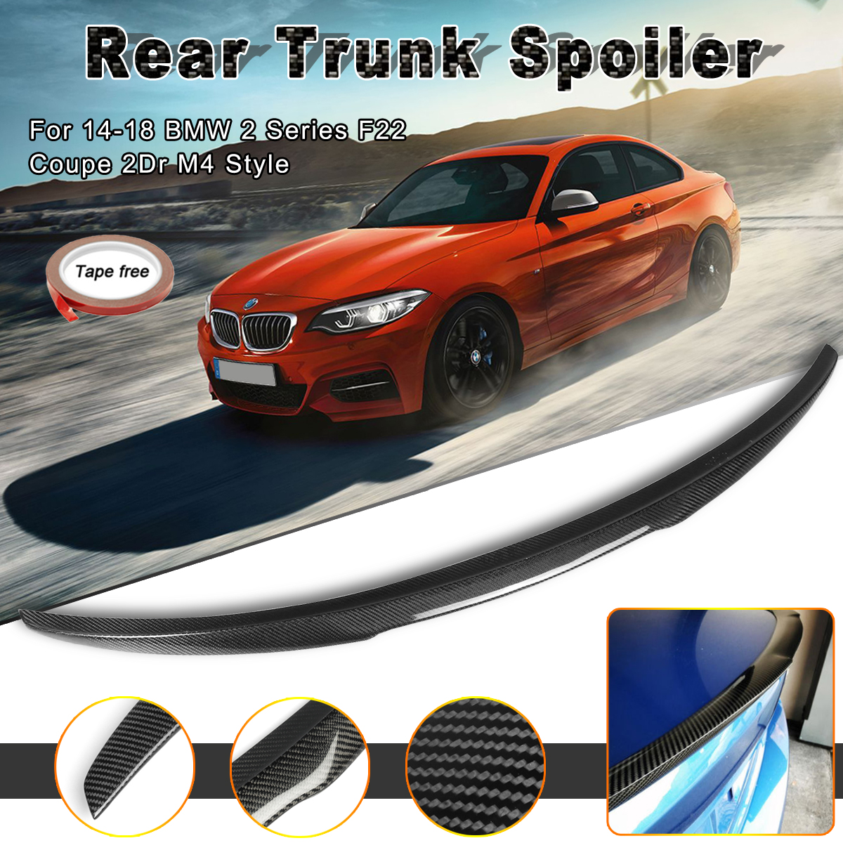 4 SERIES F82 M4 COUPE PERFORMANCE REAR TRUNK BOOT SPOILER CARBON LOOK 14+