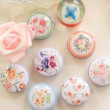 Tinplate Lipstick Case Portable Pill Boxes Ointment Box Storage Small Handmade Series Multi Styles  Flower Pattern