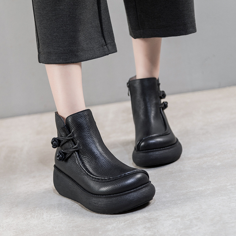 Women Ankle Boots Genuine Leather Winter Warm Martin Boots 6 CM High Heels Wedge Shoes Retro