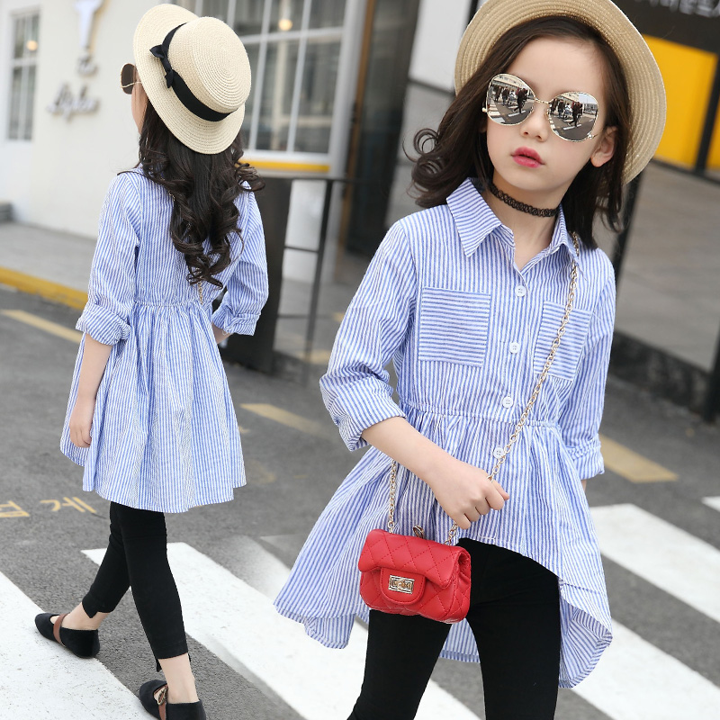 2018 Girl Striped Shirts Autumn Children Clothing Teenage Girls Blouse Long Sleeve Back To School Blouse Fille Chemise Enfant 14 button up frilled puff sleeve blouse