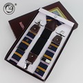 2017 Real split leather 3 clips male vintage casual suspenders commercial western-style men's Trousers for braces suspender