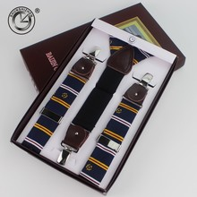Genuine leather 3 clips male vintage casual suspenders commercial western-style mens Trousers for braces suspender