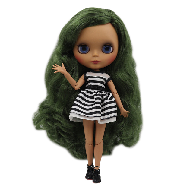 Blyth doll 30cm dark skin matte face Vintage green no bangs curls hair 1/6 JOINT body ICY SD DIY high quality toys gift