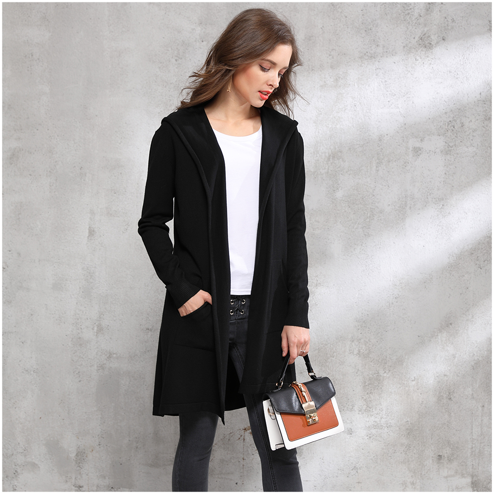 Aliexpress.com : Buy 2017 Autumn winter long black hooded jacket ...