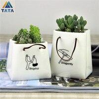 TATA Free Shipping Gardening Kawaii Mini Ceramic Flower Pot Vase Succulent Plants Circular Bonsai Planter TT
