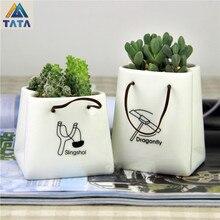 TARTADECO Free Shipping Gardening Kawaii Mini Ceramic Flower Pot Vase Succulent Plants Circular Bonsai Planter TT-CFP-001