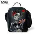 Vintage Thermal Insulated Lunch Bag for Women Men Boys Girls Skull Head Insulation Lunch Box Picnic Food Cooler Lunchbox Bolsa