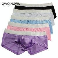 5PCS/Lot Male Underwear Bright Silky Men Underwear Cueca Boxer Short Calzoncillos Hombre Underpants Underwear Men Boxrs