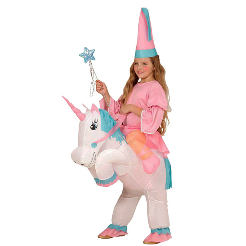 Inflatable Costume Unicorn Funny Animal Cosplay Boys Girls Mascot Fancy Waterproof Halloween Purim Party Suit Child