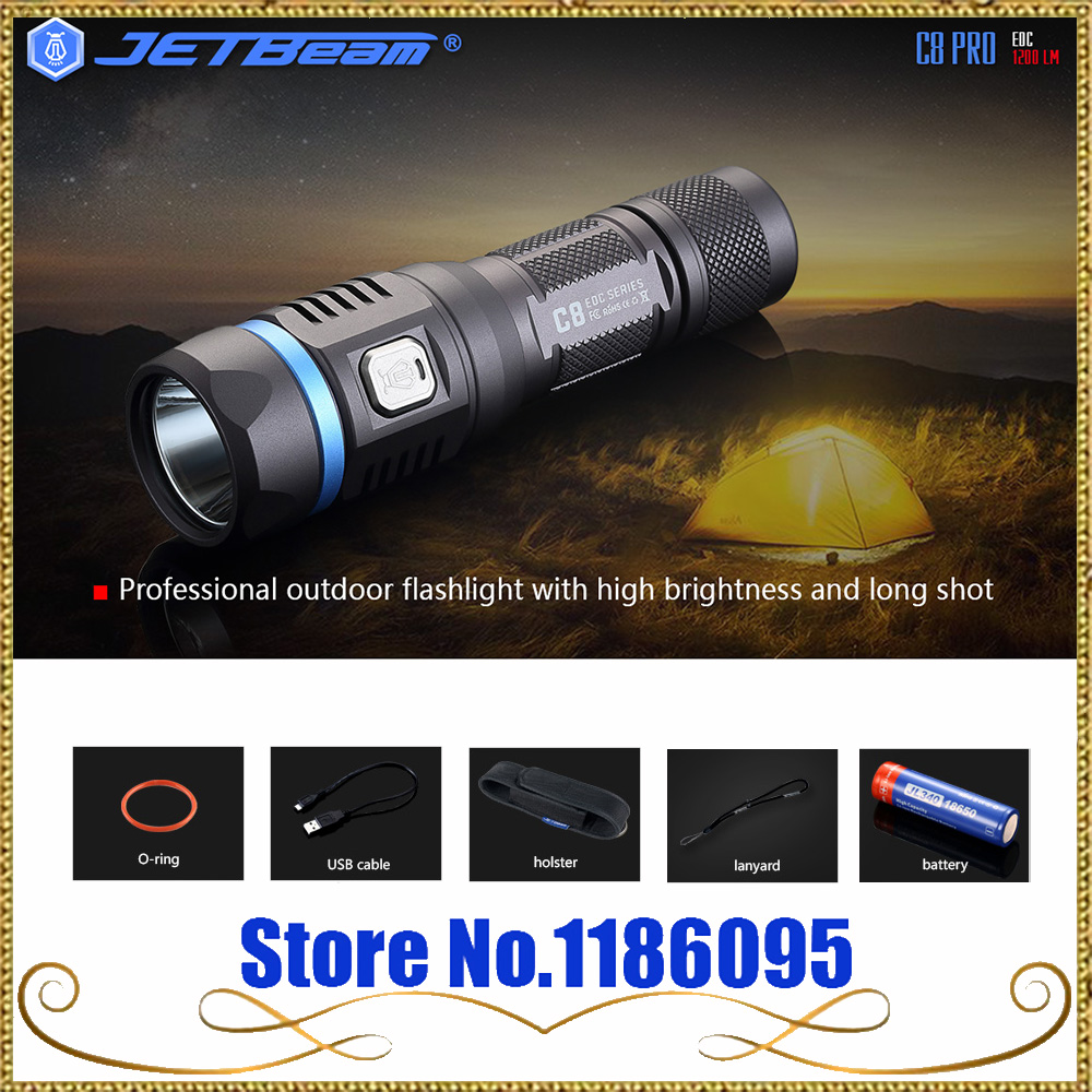 Jetbeam C8 PRO Outdoor Powerful Tactical LED Flashlight 18650 1200lm High Power Pocket Light Penlight 4 Modes Light Torch Lamp powerful handlight outdoor tactical flashlight 1300lm tactical led flashlight torch outdoor waterproof aluminum alloy