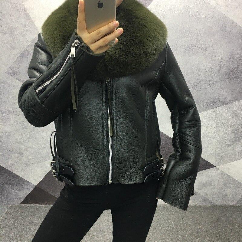 Cuir Veste En Courts Dame Russie De Chaud Col Réel Hiver Gray Pu Et Vêtement Light Avec Manteaux green Femmes Zip Fox Fourrure Épais black dCxoBerW