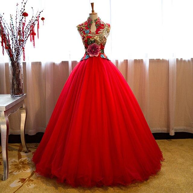 ee676b77aa13cc € 157.63 27% de réduction|Robe de mariée rouge Qipao longue Robe de soirée  femme Robe de broderie Chinoise traditionnelle Cheongsam Robe Chinoise ...