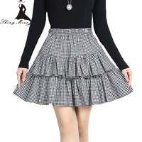 Shinymoraファッションボールガウン用女性2017新しい黒と白のチェック柄プレッピースタイル学生フリルスカート女の子素敵なスカート