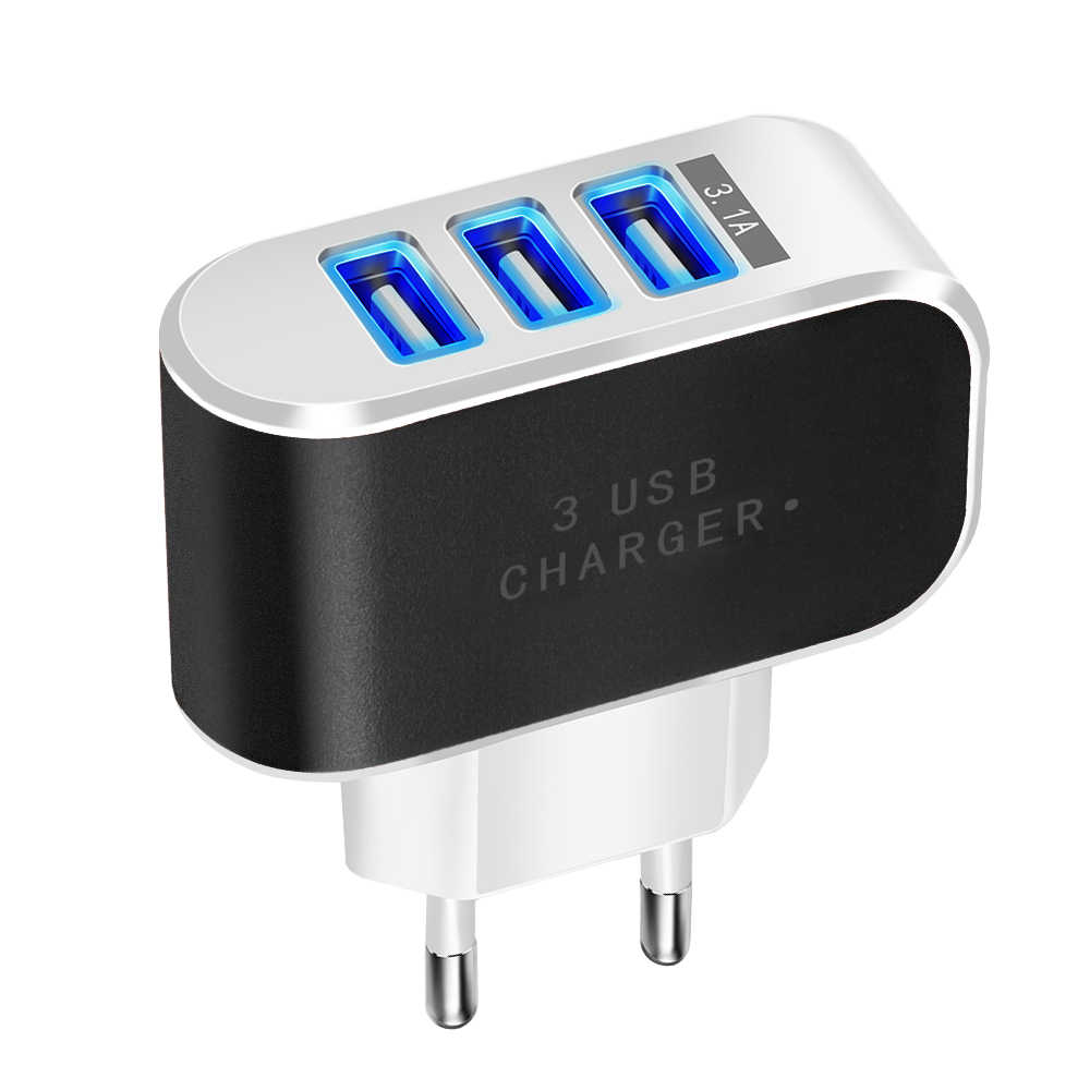 Permen Warna 5V 3.1A 3USB Port Home Travel AC Power Adaptor Charger Dinding USB Charger untuk Uni Eropa Ponsel tablet Xiomi Kabel Micro