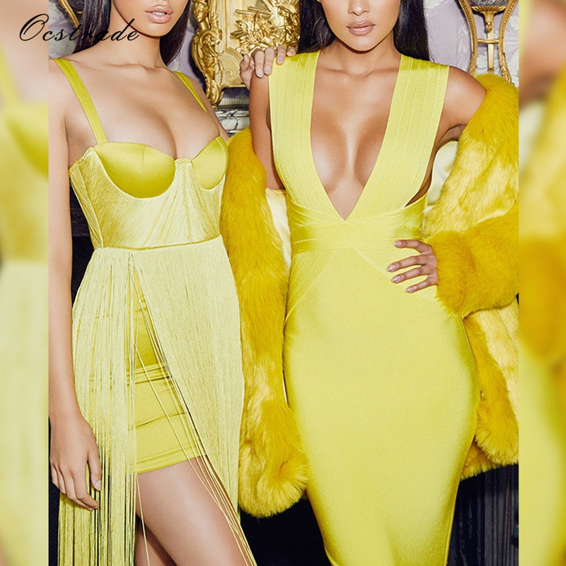 New 2018 High Quality Fashion Summer Sexy Maxi Dress Evening Party Acid Yellow Satin Fringe Elegant Sexy Long Dress