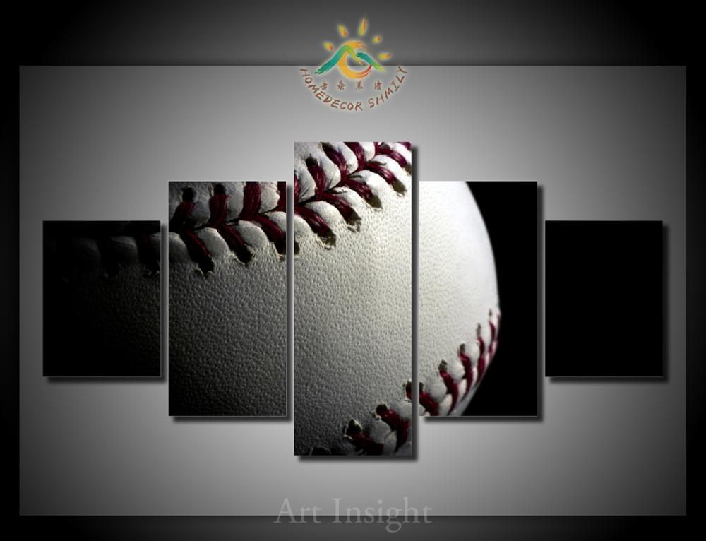 5 Pieces Set Baseball Modern Wall Art For Wall Decor Home Decoration Picture Paint On