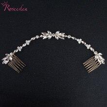 цена на Fashion  Long Double Hair Comb Bridal Hair Ornaments big crystal Leaf Wedding Hair Vine Hair Jewelry Accessory RE3014