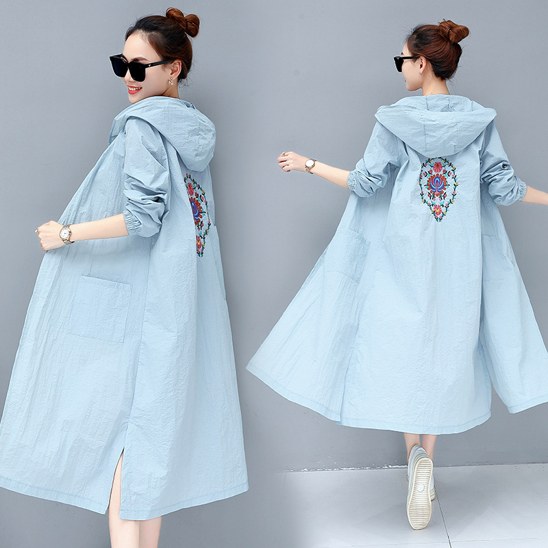 Mr.nut Clothing National Wind Windbreaker Hooded Long-Coat Street-Embroidery Female Flower