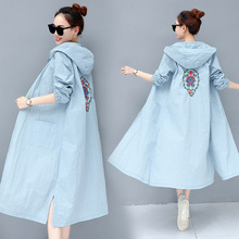 M long coat female street embroidery flower windbreaker national wind literary hooded sun protection clothing