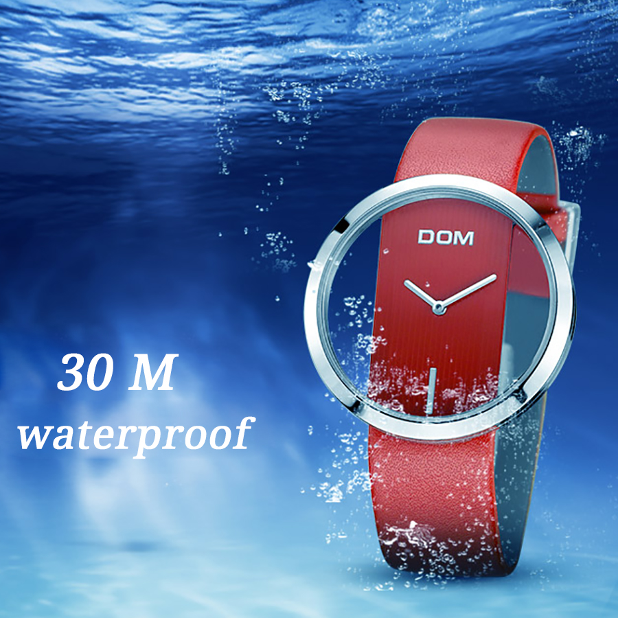 DOM Watch Women luxury Fashion Casual 30 m waterproof quartz watches genuine leather strap sport Ladies elegant wrist watch girl 2