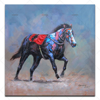 A lone colorful horse ran on the prairie Canvas oil Painting Wall Pictures for Living Room Decorative Pictures by hand painted