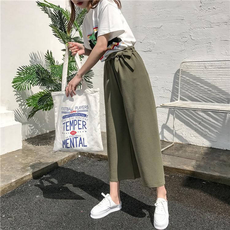 19 Women Casual Loose Wide Leg Pant Womens Elegant Fashion Preppy Style Trousers Female Pure Color Females New Palazzo Pants 22