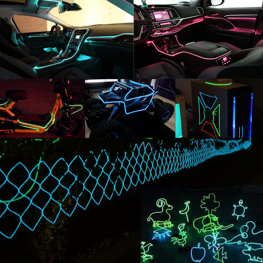 Image 5 - UGOOCA 3 Meters Car Interior Lighting Auto LED Strip Garland EL Wire Rope Tube Line Flexible Neon Light Auto Decorative Lights-in Decorative Lamp from Automobiles & Motorcycles
