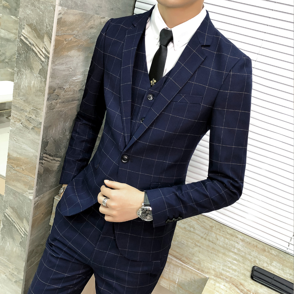 2019 Classic Navy Blue Men Blazer Fashion Winter Slim Fit Plaid Dress Jacket One Button Host Gentlemen Suit Coat