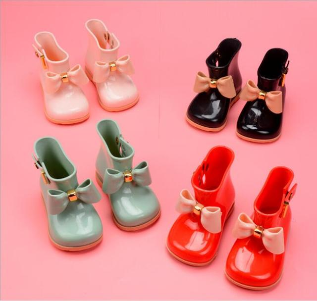 Waterproof KidsSpring Autumn baby girls Rain Boots Warm Beauty Bow Rainboots Fashion soft Rubber Shoes Toddler Kids Jelly shoes