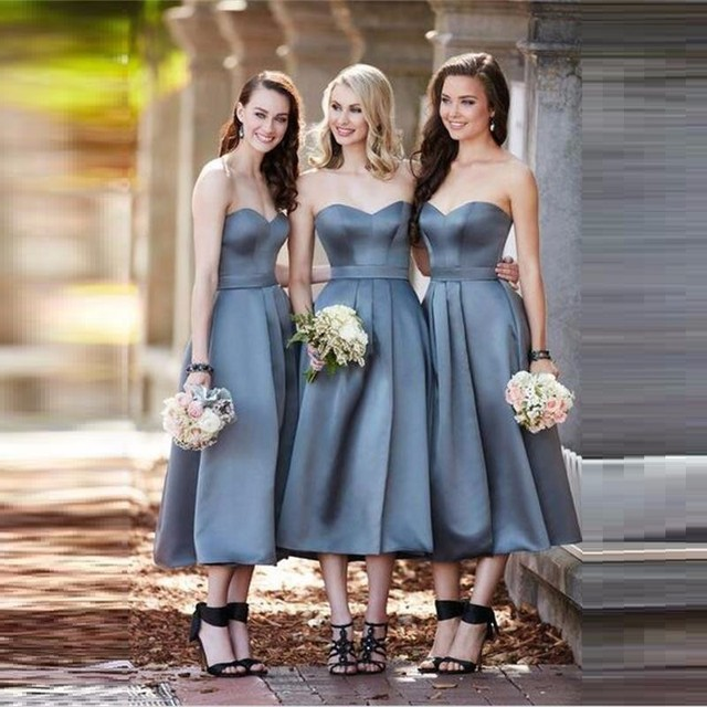 New Tea Length Bridesmaid Dresses Elegant Sweet Heart Strapless Sleeper Retro Dress Country Brides Maid