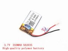 3.7V lithium polymer battery 502035 052035 350MAH small toys MP3 recorder Liter energy battery