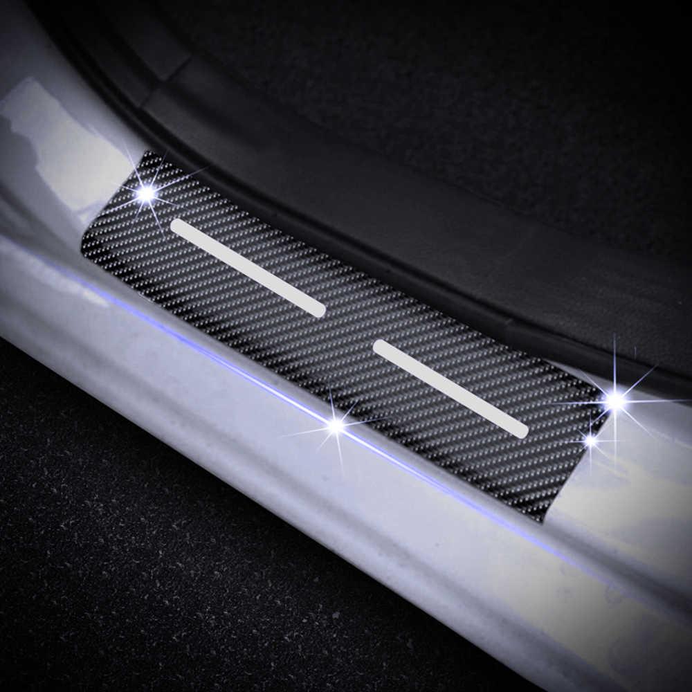 red SENYAZON Car Threshold Pedal Sticker for GMC Sierra Truck Decoration Scuff Plate Carbon Fibre Vinyl Sticker Car Accessories car-Styling