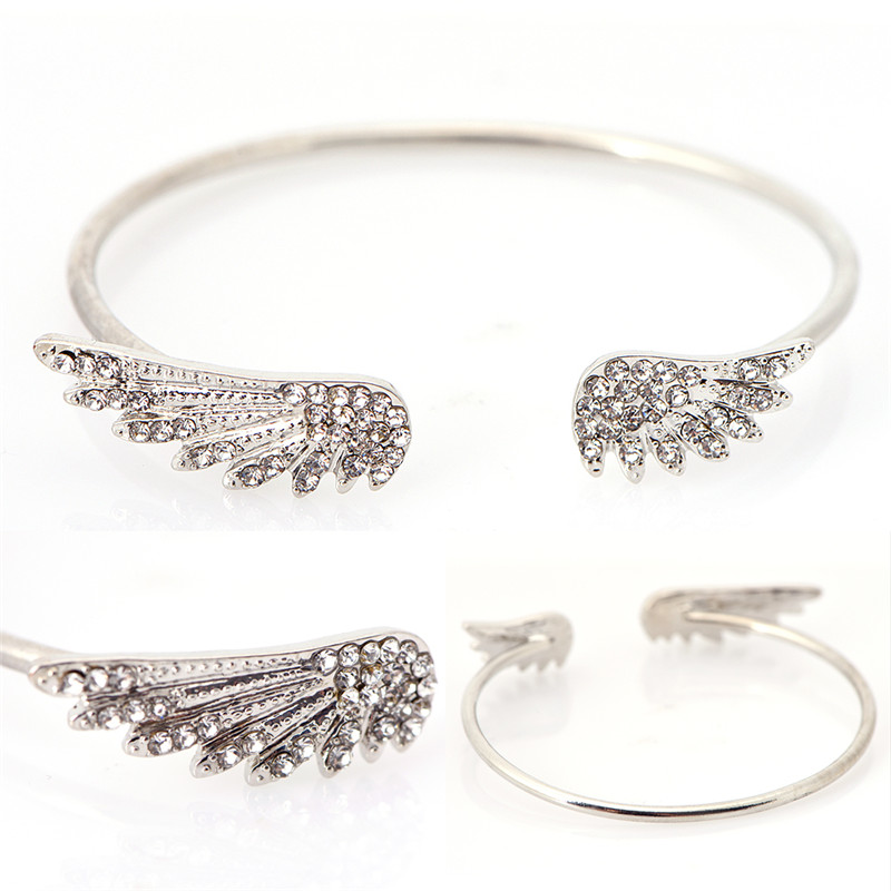 Vintage Silver Colors Plated Crystal Wings font b Bracelet b font Jewelry Charm Cuff Bangle Gift